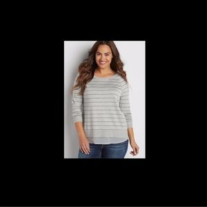 Maurices Striped Pullover Sweater With Chiffon Hem